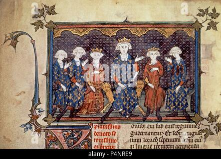 Philip IV of France and his Children. Louis X, Philip V, Charles IV and Isabella of France, married to Edward II of England. Paris, National Library. Location: NATIONAL LIBRARY. - Stock Photo