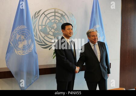 UN, New York, USA. 22nd June, 2018. UN Sec Gen Antonio Guterres met Wang Xiaohong, China's Deputy Minister of Public Security. Photo: Matthew Russell Lee / Inner City Press - Stock Photo