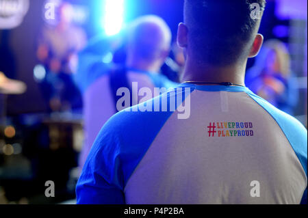San Francisco, California, USA. 22nd June, 2018. AT&T has a long history of LGBT inclusion and was one of the first companies in 1987 to have an LGBT alliance group. Credit: Neal Waters/ZUMA Wire/Alamy Live News - Stock Photo