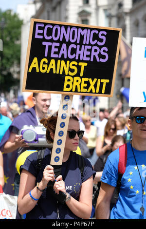 People's Vote march London, UK. 23rd June 2018 - Protestors march along Pall Mall en route Whitehall to demand a second vote on the final Brexit deal - Steven May /Alamy Live News - Stock Photo