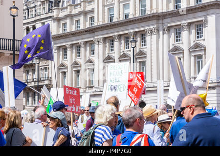London, UK. 23 Jun, 2018: Demonstrators take part in the people's vote march held in London in favour of a meaningful vote on the final Brexit deal between the UK government and the European Union. Credit: Bradley Smith/Alamy Live News. - Stock Photo