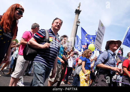 Brexit People's Vote march London UK -  Saturday 23rd June 2018 - Protestors march through Trafalgar Square en route Whitehall to demand a second vote on the final Brexit deal - Steven May /Alamy Live News