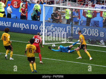 Moscow, Russia. 23rd June, 2018. Soccer: FIFA World Cup, Group G, 2nd matchday, Belgium vs Tunisia at Spartak Stadium: Wahbi Khazri (3-L) from Tunisia scores the 5-2 goal against goalkeeper Thibaut Courtois (2-R) from Belgium and Toby Alderweireld (R) from Belgium. Credit: Federico Gambarini/dpa/Alamy Live News - Stock Photo