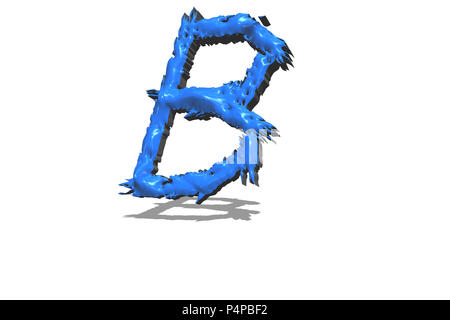 Big blue letter B in 3D on white background - Stock Photo