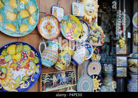 VIETRI SUL MARE, ITALY - April 27, 2018 Colorful ceramic shop in Amalfi Coast - Stock Photo