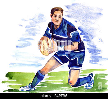 Athlete rugby player running with the ball on the football field of the stadium, hand painted watercolor illustration - Stock Photo