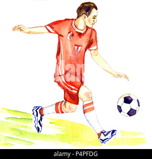 Athlete football player kicks the ball on the football field of the stadium, hand painted watercolor illustration - Stock Photo