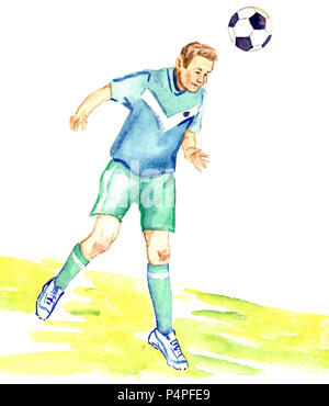 Athlete football player kicks the ball by head on the football field of the stadium, hand painted watercolor illustration - Stock Photo