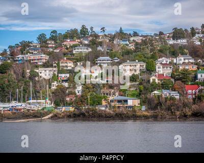 View from Royal Park of residential houses near Tamar River in Launceston. Tasmania, Australia - Stock Photo