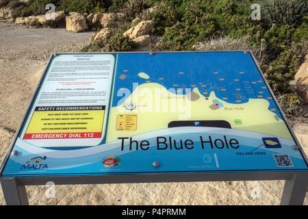 Gozo-Dwejra- Malte, The blue Hole - Stock Photo