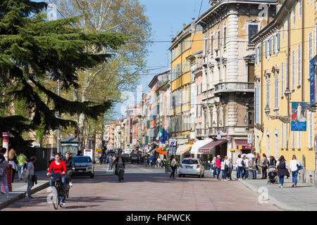 PARMA, ITALY - APRIL 17, 2018: The street of the old town at dusk. - Stock Photo
