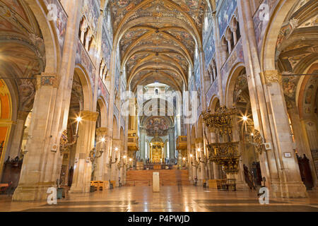 PARMA, ITALY - APRIL 16, 2018: The nave of Duomo - Dome -  Assumption of the Blessed Virgin Mary. - Stock Photo