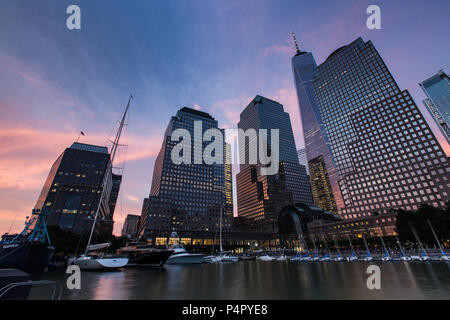 Sunset at Brookfield Place in Battery Park, New York United States - Stock Photo