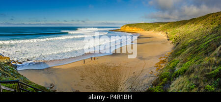 Panorama of perfect surf at Bells Beach, Torquay, Surf Coast Shire, Great Ocean Road, Victoria, Australia - Stock Photo