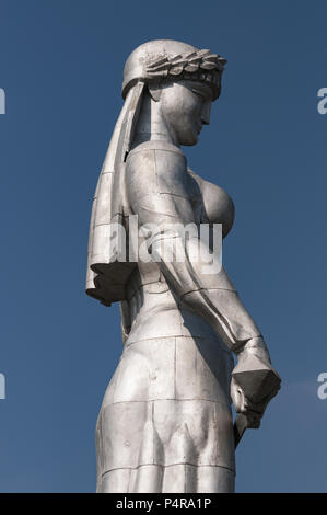Georgia, Tbilisi, Old Town, statue of Mother Georgia, Kartlis Deda monument, erected on the top of Sololaki hill in 1958 - Stock Photo