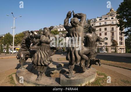 Georgia, Tbilisi, Old Town, Ring Statue of Folk Dance Berikaoba on David Agmashenebeli Ave, by Avtandil Monaselidze, 1981 - Stock Photo