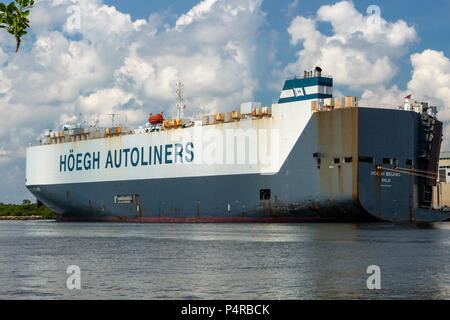 Hoegh Autoliners Pure Car and Truck Carrier ship at Port Everglades - Fort Lauderdale, Florida, USA - Stock Photo