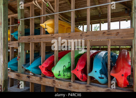 Kayaks for rent on wooden rack at marina - West Lake Park, Hollywood, Florida, USA - Stock Photo