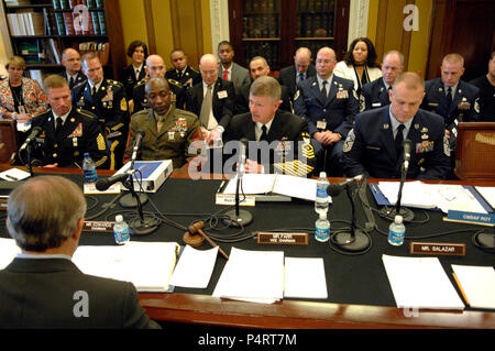 Sgt. Maj. of the Army Kenneth Preston, Sgt. Maj. of the Marine Corps Carlton Kent, Master Chief Petty Officer of the Navy Rick West and Chief Master Sgt. of the Air Force James Roy testify before the House Appropriations Committee Subcommittee on Military Construction in Washington, D.C., April 14, 2010, concerning quality of life issues. (DoD - Stock Photo