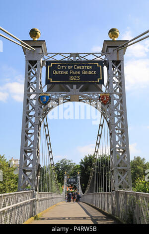 Queens Park suspension bridge over the beautiful River Dee in Chester, NW England, UK - Stock Photo