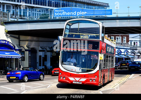 Open top bus regular bus service, Southend on Sea, Essex. Go Ahead London route 68. Volvo General bus to Leigh Broadway, Westcliff, Chalkwell - Stock Photo