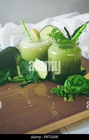 Fresh and detox green smoothie - Stock Photo