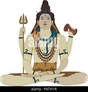 Hindu God Shiva flat vector illustration - Stock Photo