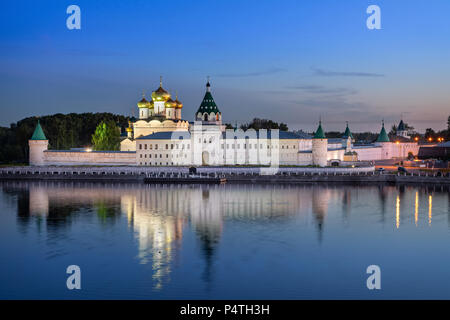Ipatiev Monastery reflecting in water at dusk, Kostroma, Russia - Stock Photo