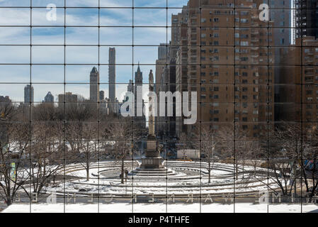 View of Columbus Circle from inside Time Warner Center, Manhattan, New York, USA - Stock Photo