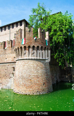 Rocca Sanvitale in the town of Fontanellato, Parma, Italy. Old castle of the count of Sanvitale family - Stock Photo