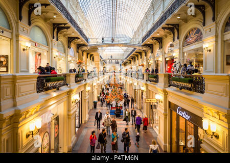 Moscow, Russia - September 16, 2017: walkway inside Gum department store, the oldest shopping mall at lower and upper floors which tourist walking aro - Stock Photo
