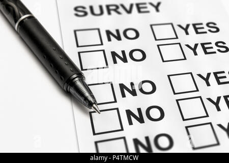 close up of a satisfaction survey - Stock Photo