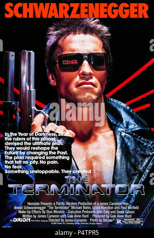 The Terminator (1984) directed by James Cameron and starring by Arnold Schwarzenegger, Linda Hamilton and Michael Biehn. An android travels back in time to kill the mother of a future resistance leader. - Stock Photo