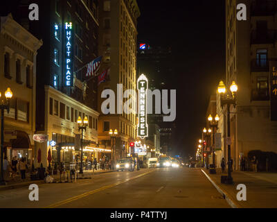 Gay Street, Knoxville, Tennessee, United States of America, summer 2018: [Night life in the center of Knoxville] - Stock Photo