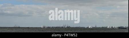 City and harbor view of the state capital Kiel on the Baltic Sea (Kieler Woche) - Stock Photo