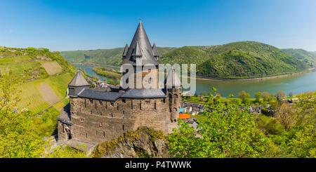 Germany, Rhineland-Palatinate, Bacharach, Upper Middle Rhine Valley, Stahleck Castle - Stock Photo