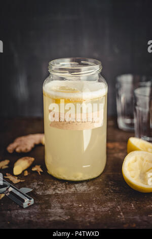Switchel, homemade drink with ginger, apple vinegar, honey and lemon - Stock Photo