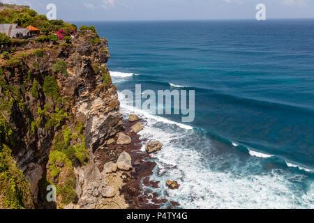 Views of Pura Luhur Uluwatu and the Pacific Ocean, Bali, Indonesia - Stock Photo