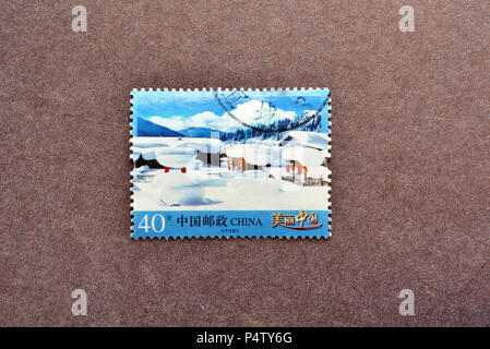 CHINA - CIRCA 2016: A stamp printed in Beijing China shows R32-2 Beautiful China (4-1), The Snow Country, circa 2016. - Stock Photo