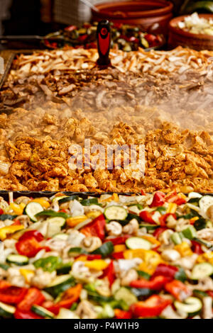 A food stall making delicious Hungarian food in Vörösmarty square, Budapest, Hungary, - Stock Photo