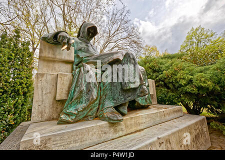 The Miklós Ligeti's statue of the chronicler Anonymus in the Vajdahunyad Castle court, Budapest, Hungary. - Stock Photo