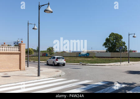 Valencia, Spain, intersection on the outskirts of Valencia - Stock Photo