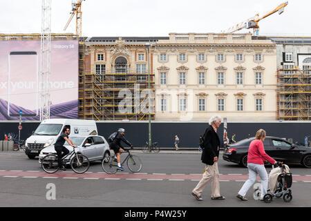 Berlin, Germany, facade at the Berliner Schloss - Humboldtforum at the Schlossplatz in Berlin-Mitte - Stock Photo