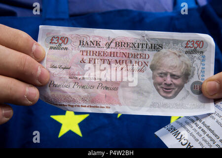 London, UK. 23 June 2018.Anti-Brexit march and rally for a People's Vote in Central London. Face of Boris Johnson on a 350 million pound note. - Stock Photo