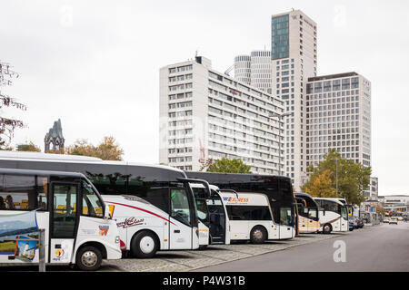 Berlin, Germany, coaches park at the Zoologischer Garten station on Hardenbergplatz in Berlin-Charlottenburg, in the background the Tower Zoofenster Berlin and the Upper West - Stock Photo