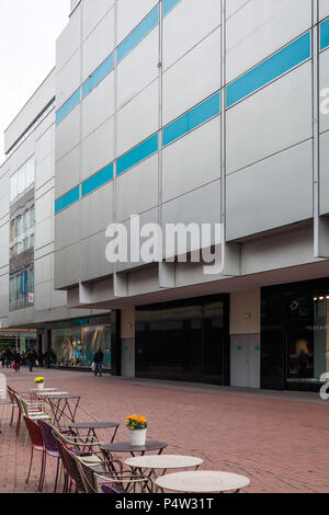 Hannover, Germany, department store facade and empty street cafe - Stock Photo