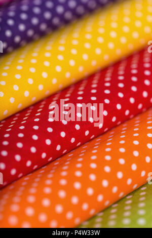 cotton fabric with white polka dots closeup - Stock Photo