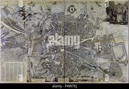PLANO DE MADRID - 1656. Author: Pedro Texeira (1592-1662). Location: AYUNTAMIENTO-ANTIGUO, SPAIN. - Stock Photo