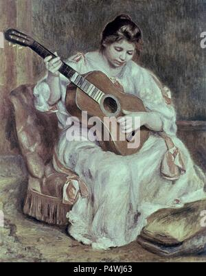MUJER CON GUITARRA. Author: Pierre Auguste Renoir (1841-1919). Location: MUSEUM OF FINE ARTS, LYON, FRANCE. - Stock Photo