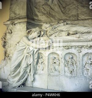 A Rueros. Monument to Canovas. Madrid, Pantéon de Hombres Ilustres. Author: RUEROS A. Location: PANTEON DE HOMBRES ILUSTRES, MADRID, SPAIN. - Stock Photo